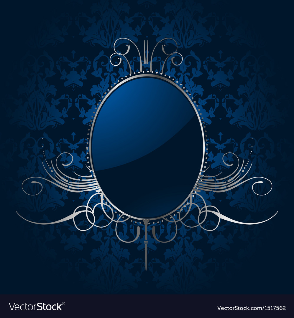 Royal blue background with silver frame vector image