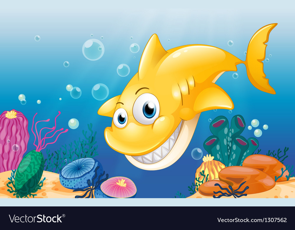 A yellow shark smiling under the sea vector image