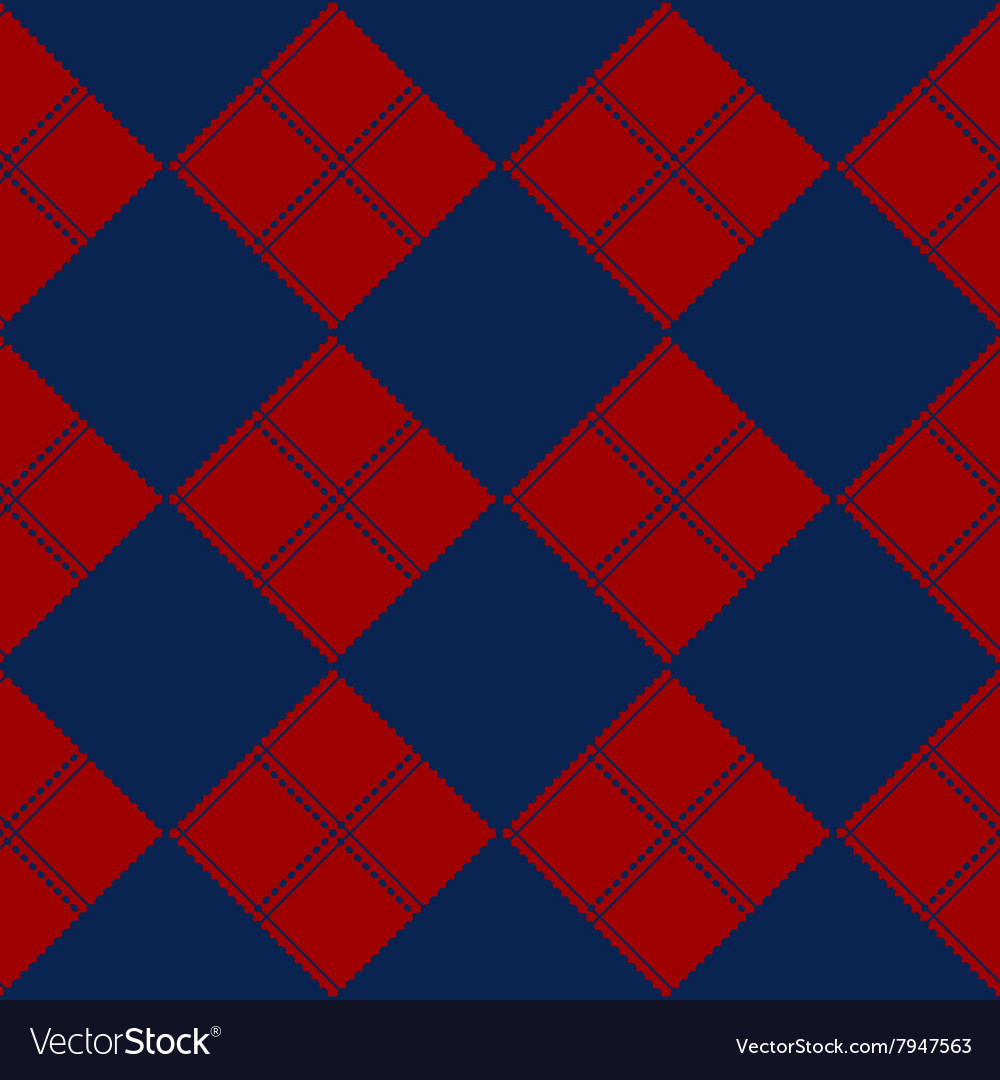 Diamond Chessboard Red Navy Blue Background vector image