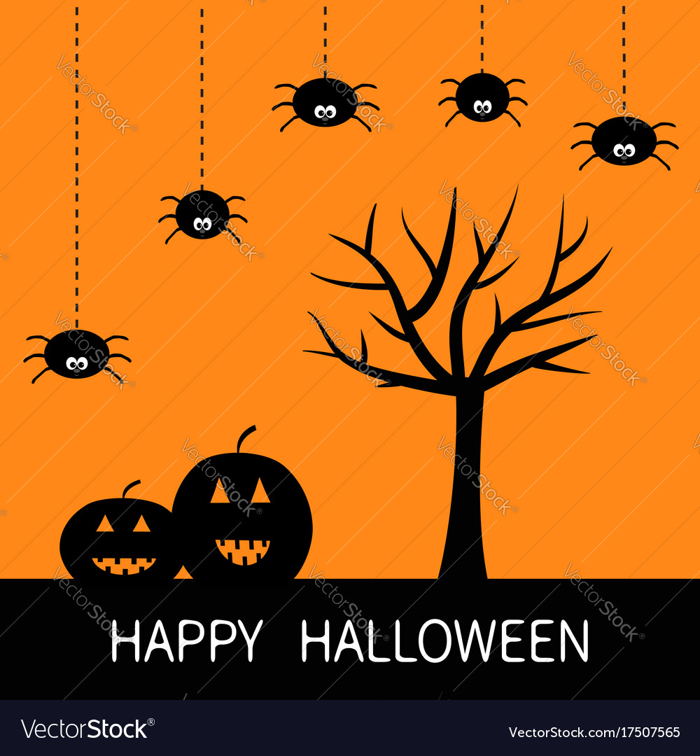 Happy halloween card black tree silhouette Vector Image