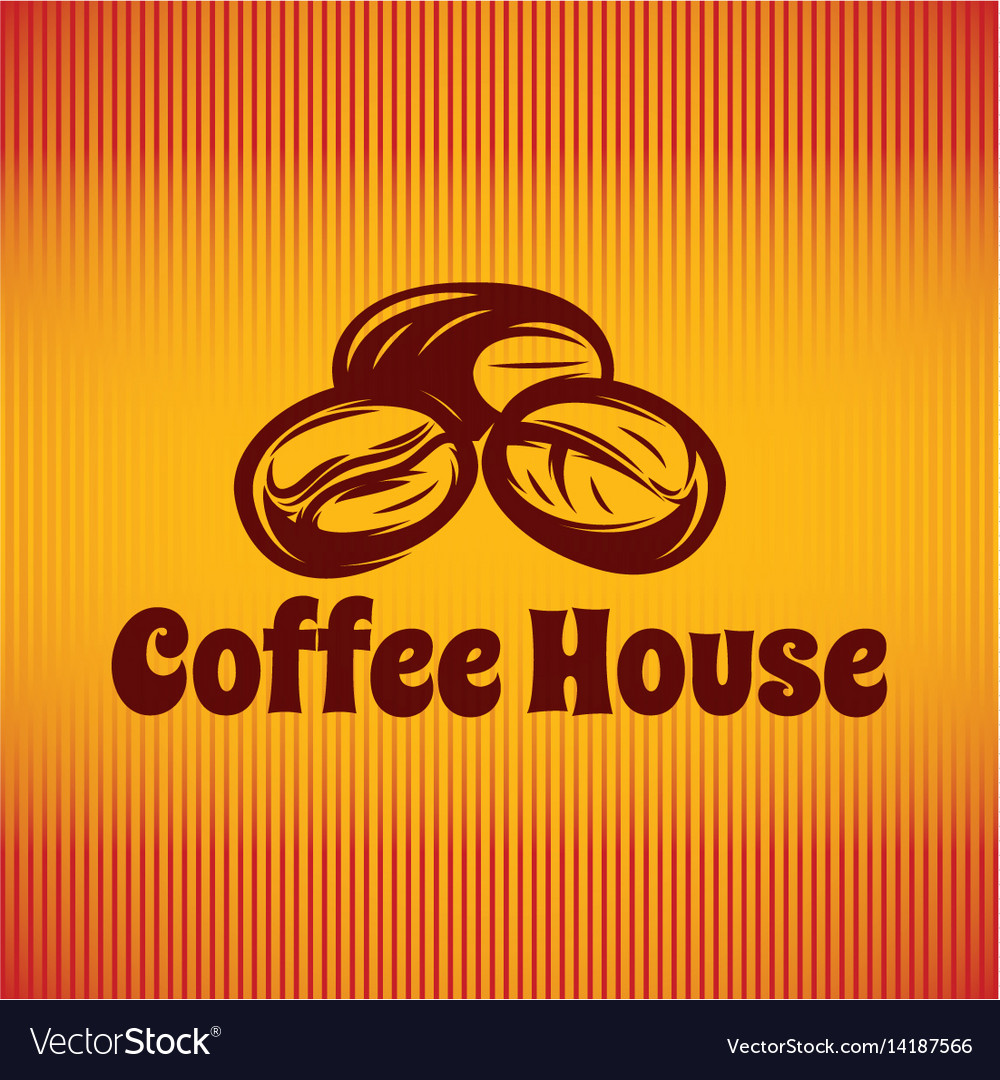 Template with coffee beans for logo or menu vector image