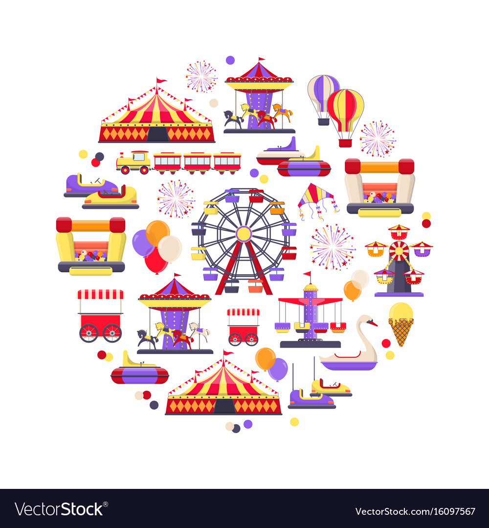 Amusement park icon set in circle shape vector image