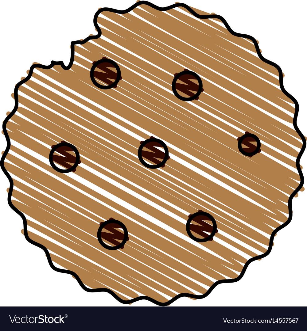 Color drawing pencil cartoon cookie snack food vector image