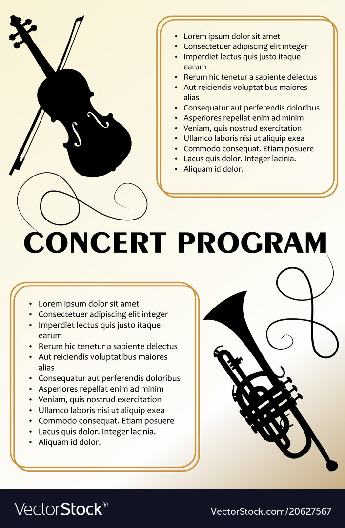 Concert Program Template With Violin And Trumpet Vector Image