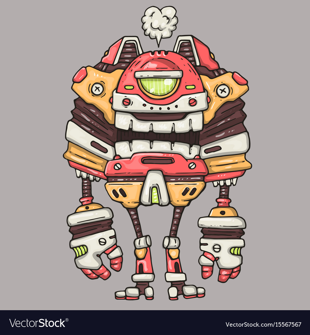 One-eyed robot cartoon vector image