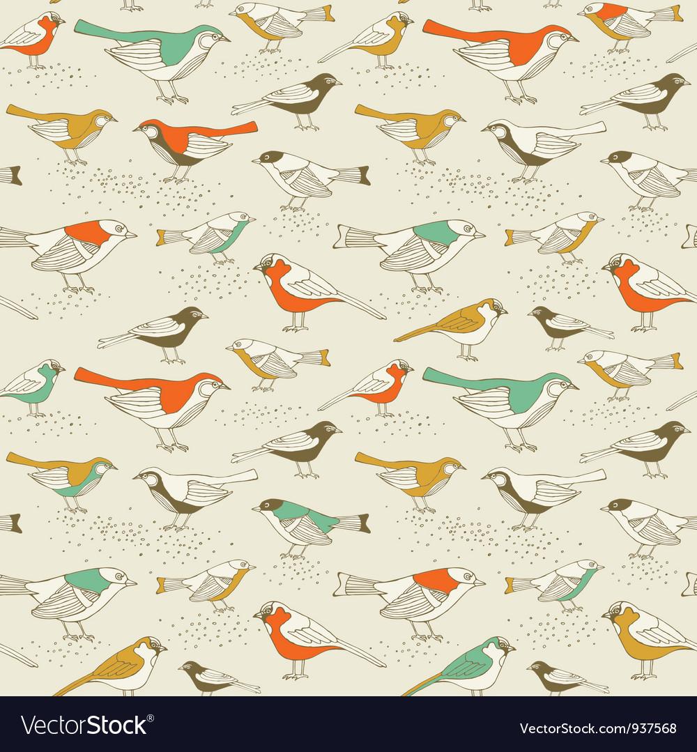 Retro Sparrow Birds Pattern vector image