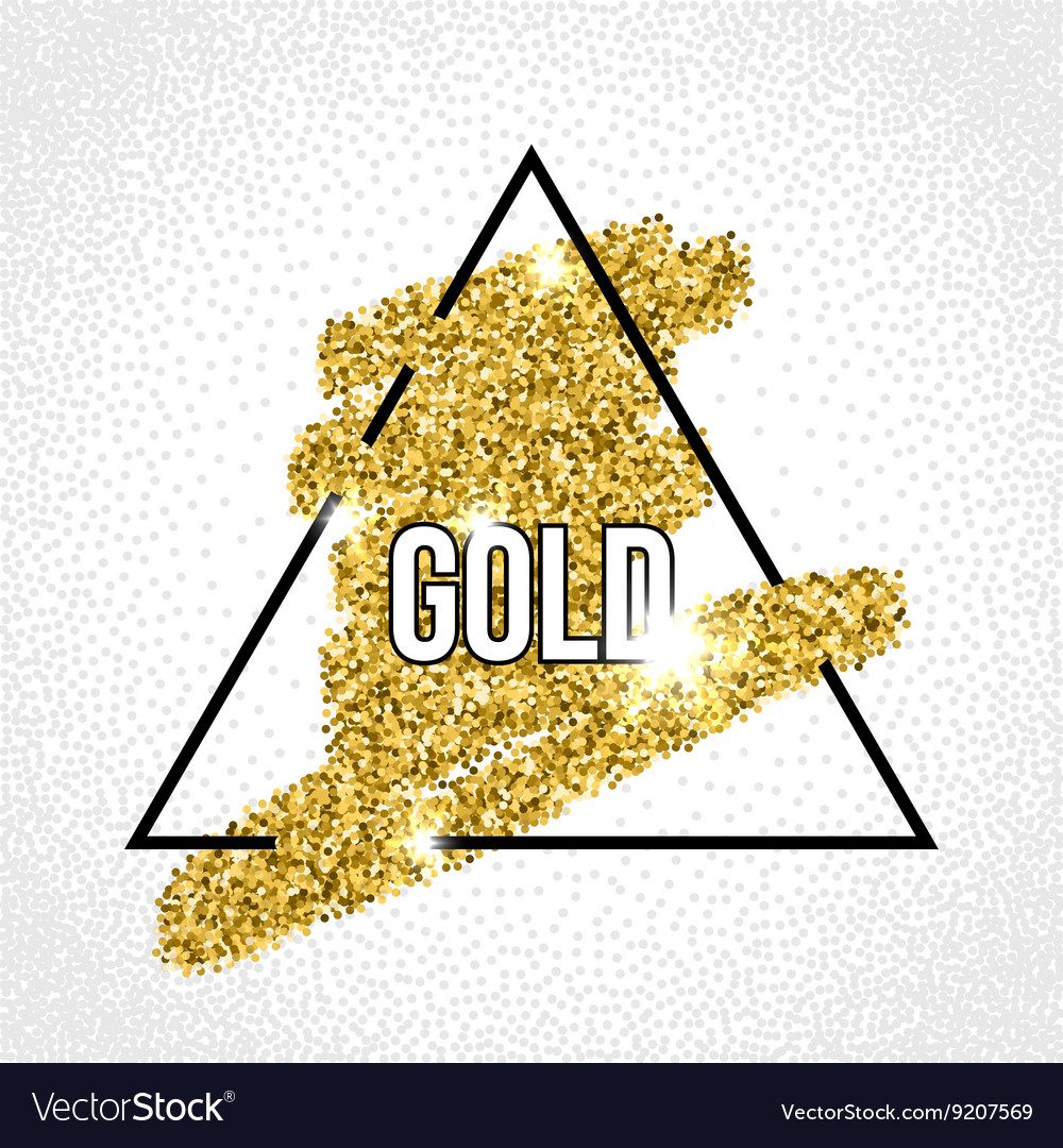 Black frame on the gold glitter background vector image