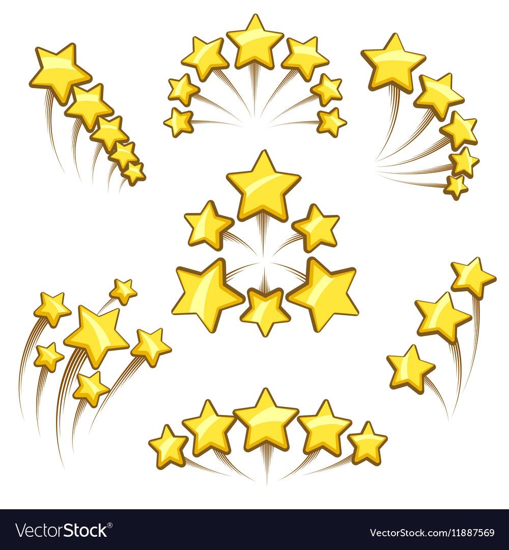 Golden stars design element set vector image