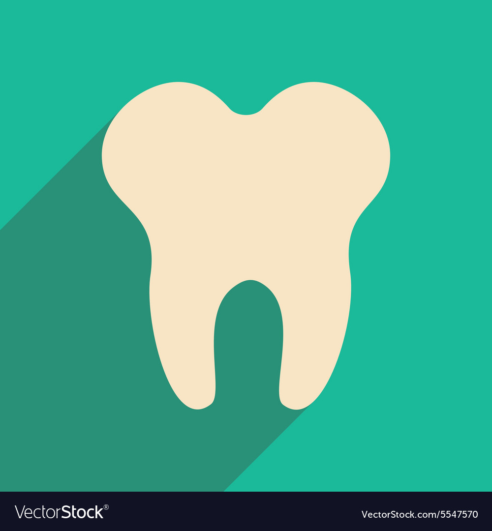 Flat with shadow icon and mobile applacation teeth
