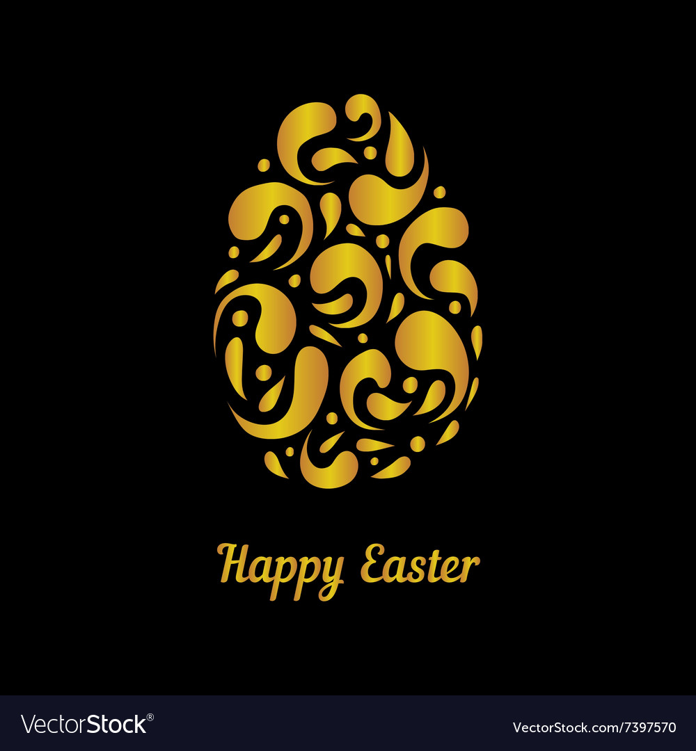 Greeting card with gold easter egg-2 vector image