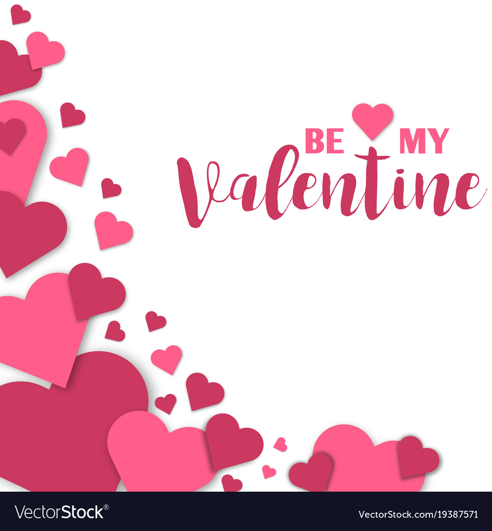 Paper hearts valentines day love art card vector image