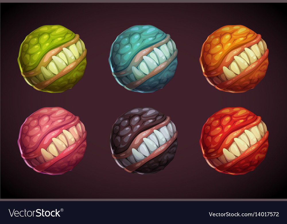 Cartoon colorful monster planet set vector image
