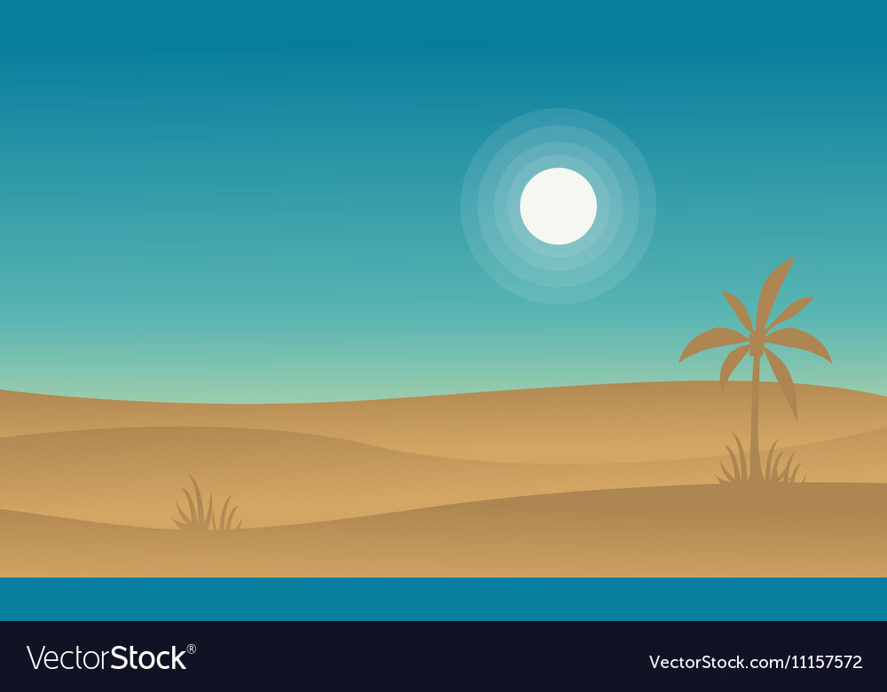 Silhouette of desert and palm landscape vector image
