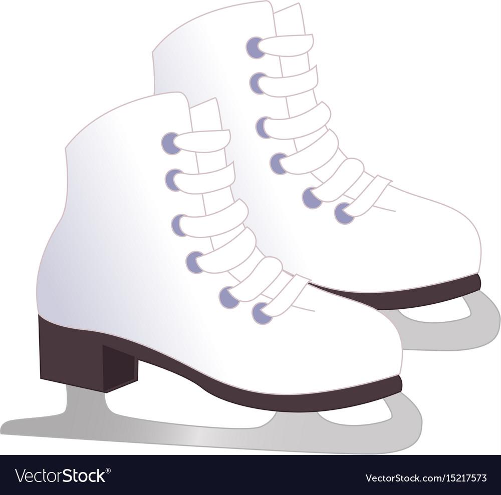 White classic ice figure skates sport equipment vector image