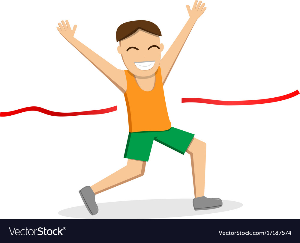 Happy male runner cross the finish line vector image