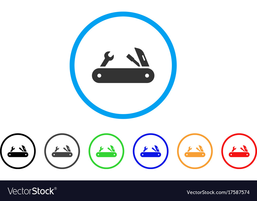 Multi-tools knife rounded icon vector image