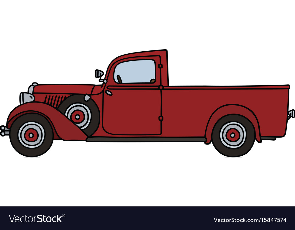 Vintage red delivery car vector image