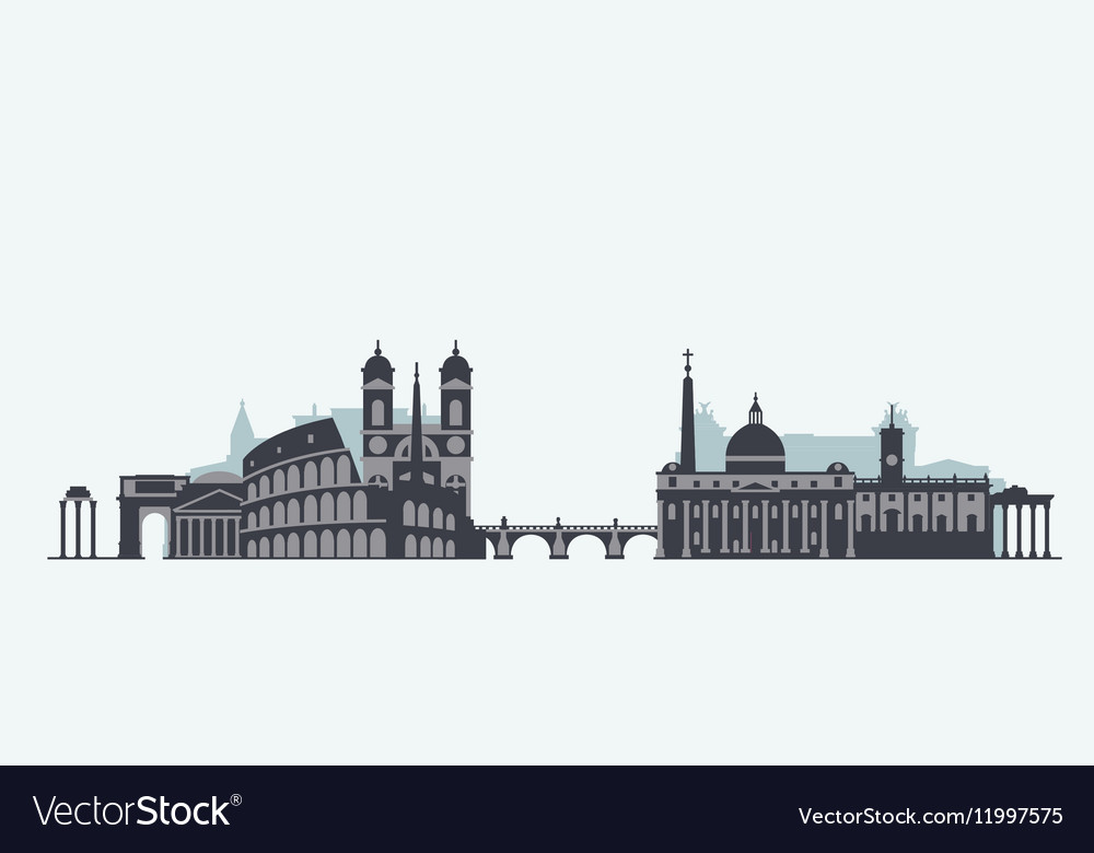 Rome skyline silhouette vector image