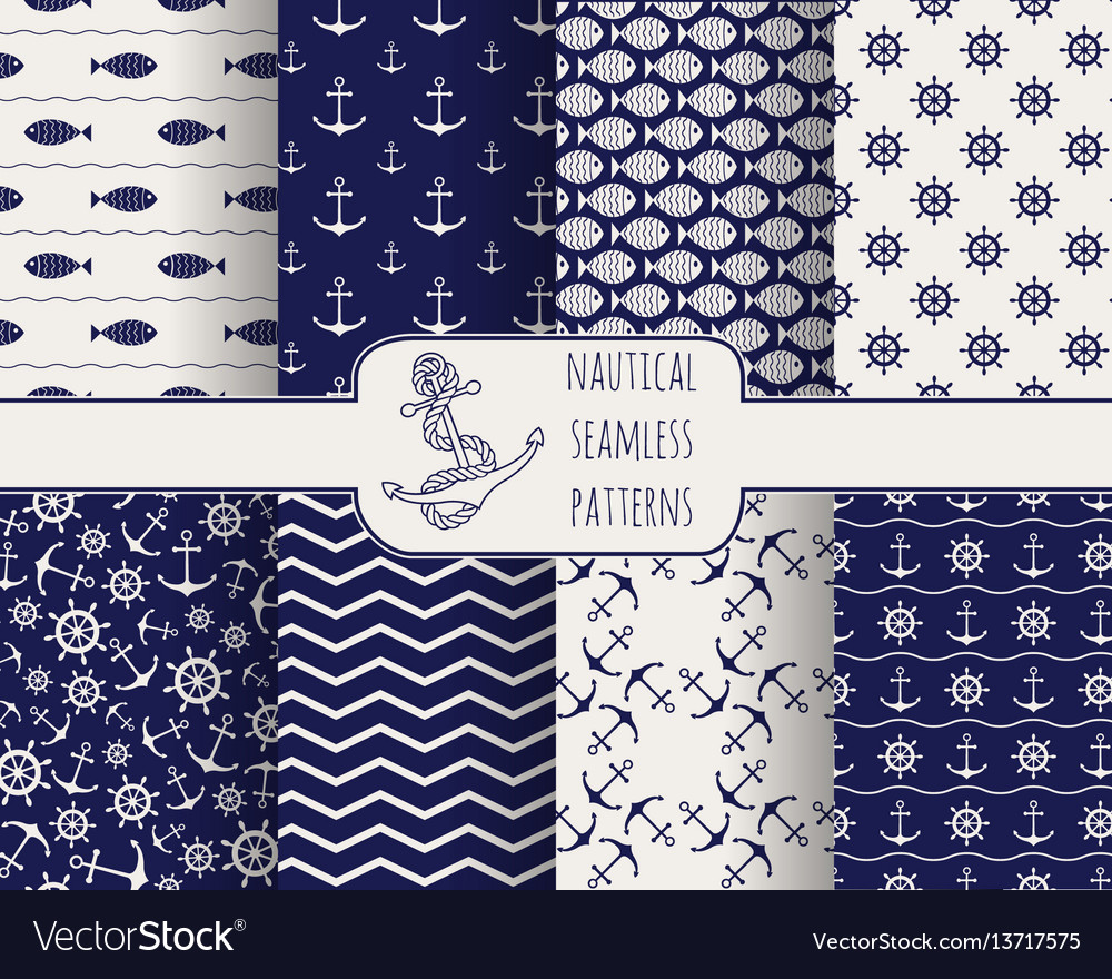 Set of seamless nautical patterns vector image