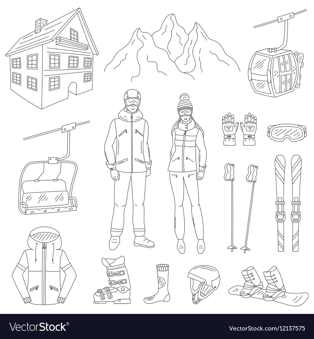Ski resort line icons set vector image