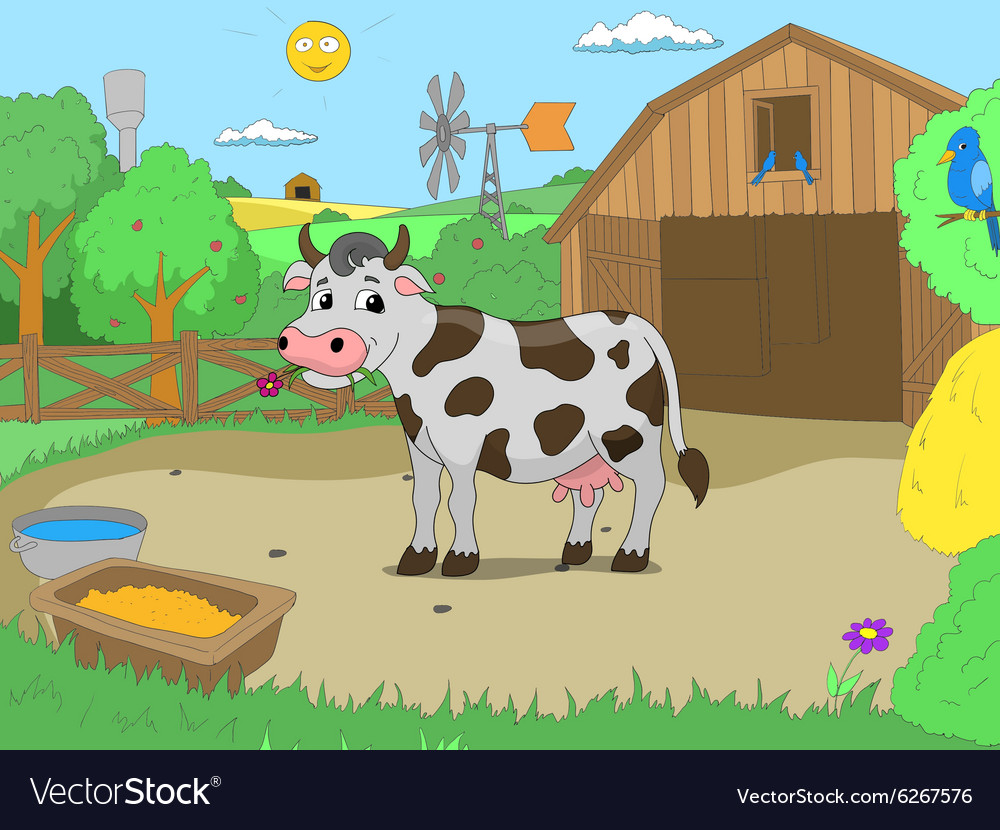 Cartoon cow in farm color book children Royalty Free Vector