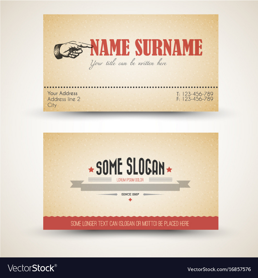 Old style retro vintage business card template vector image accmission Gallery