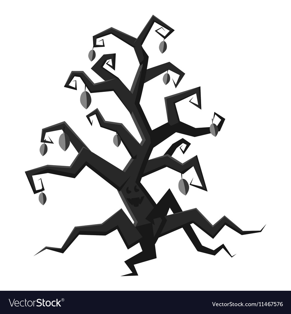 Scary tree icon gray monochrome style vector image