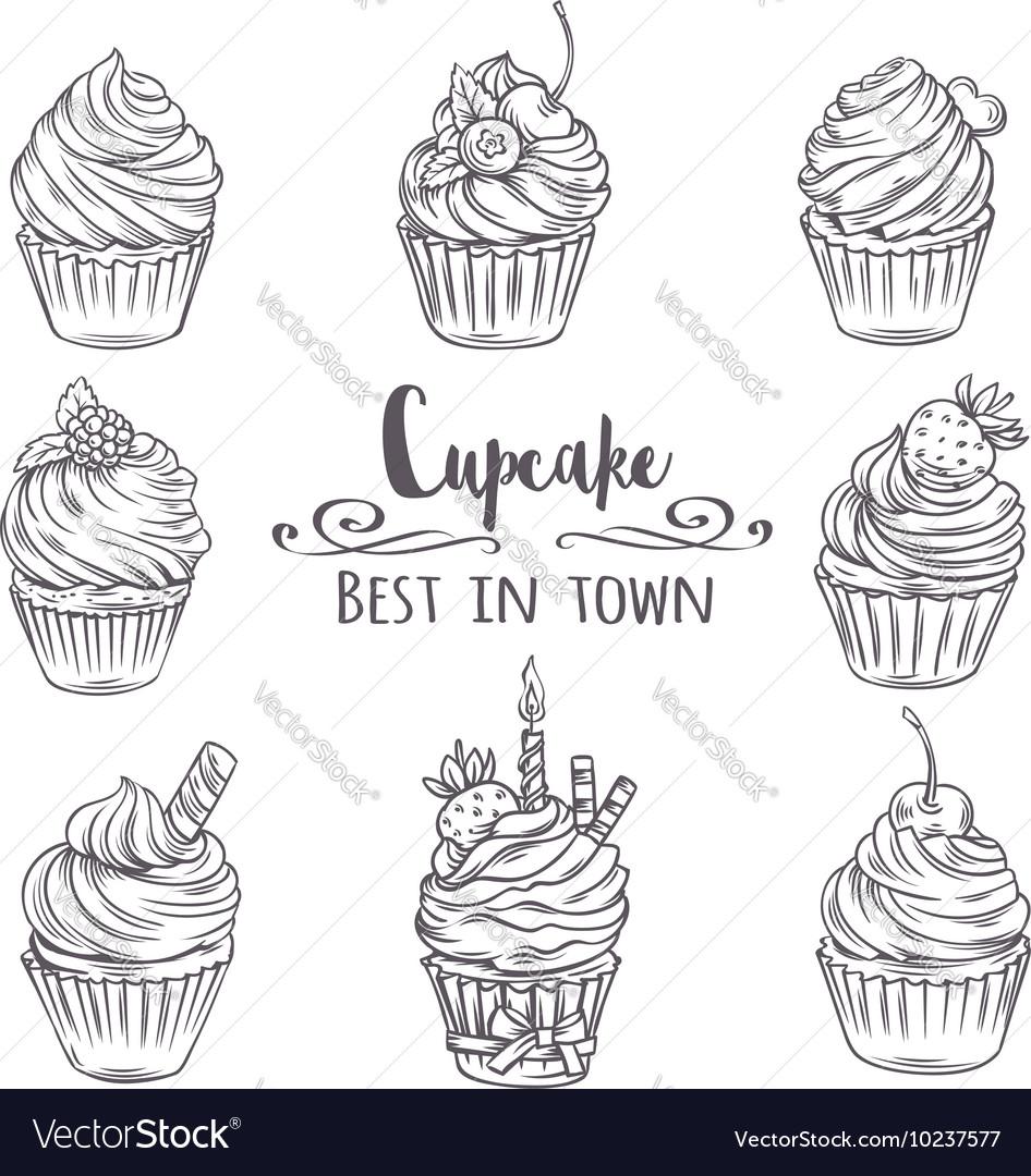 Set decorative hand drawn cupcakes vector image