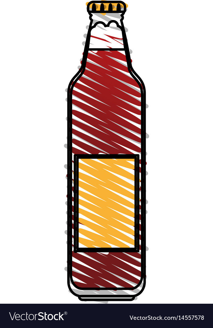color drawing pencil cartoon bottle glass of vector image