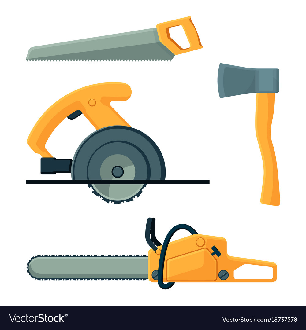 Deforestation icons of tools collection on vector image