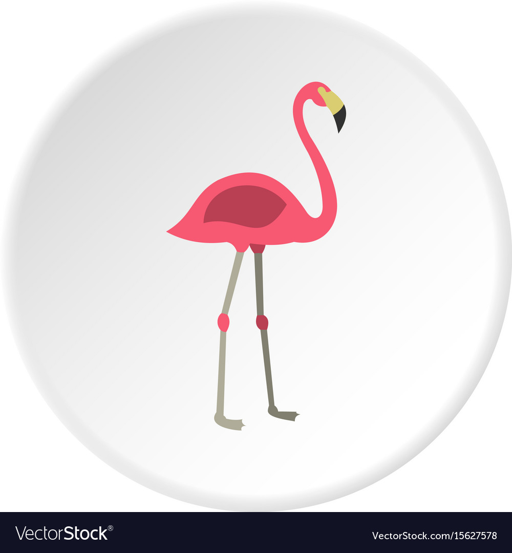 Pink flamingo icon circle vector image