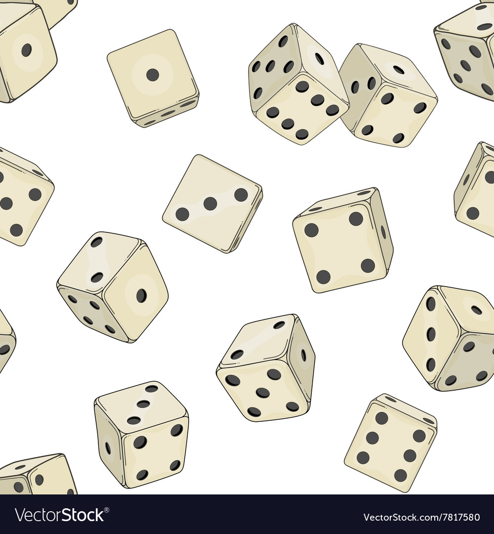 Seamless texture with colored dice cubes vector image