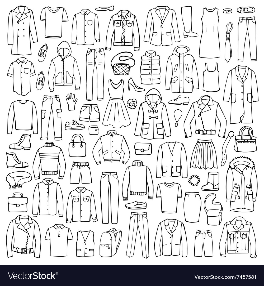Hand drawn doodle set with man and woman clothes vector image