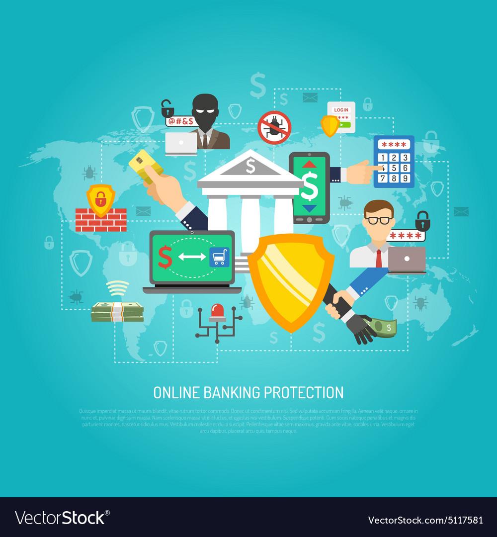 Poster design online - Online Internet Banking Protection Concept Poster Vector Image