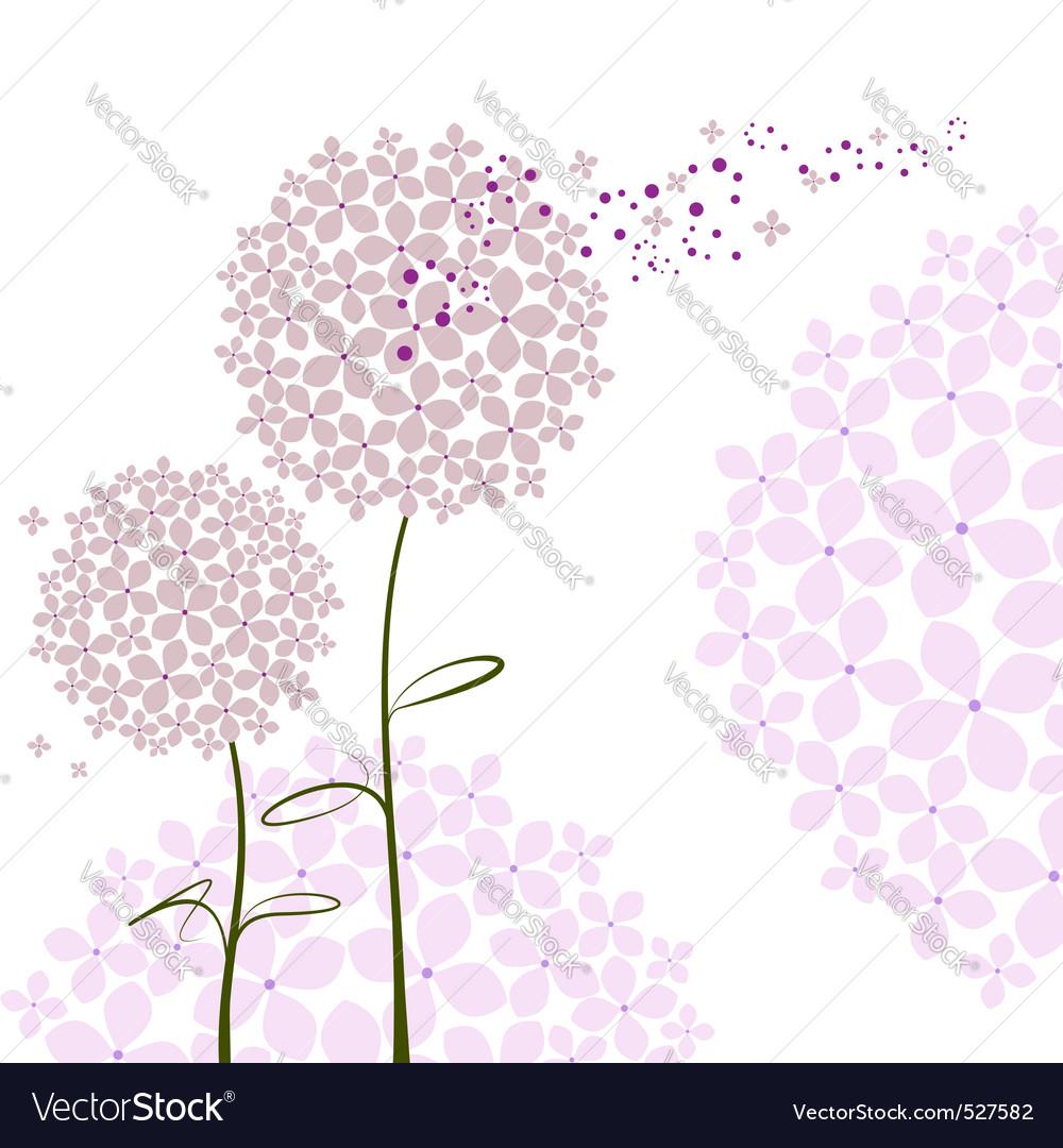 Abstract springtime purple hydrangea flower vector image