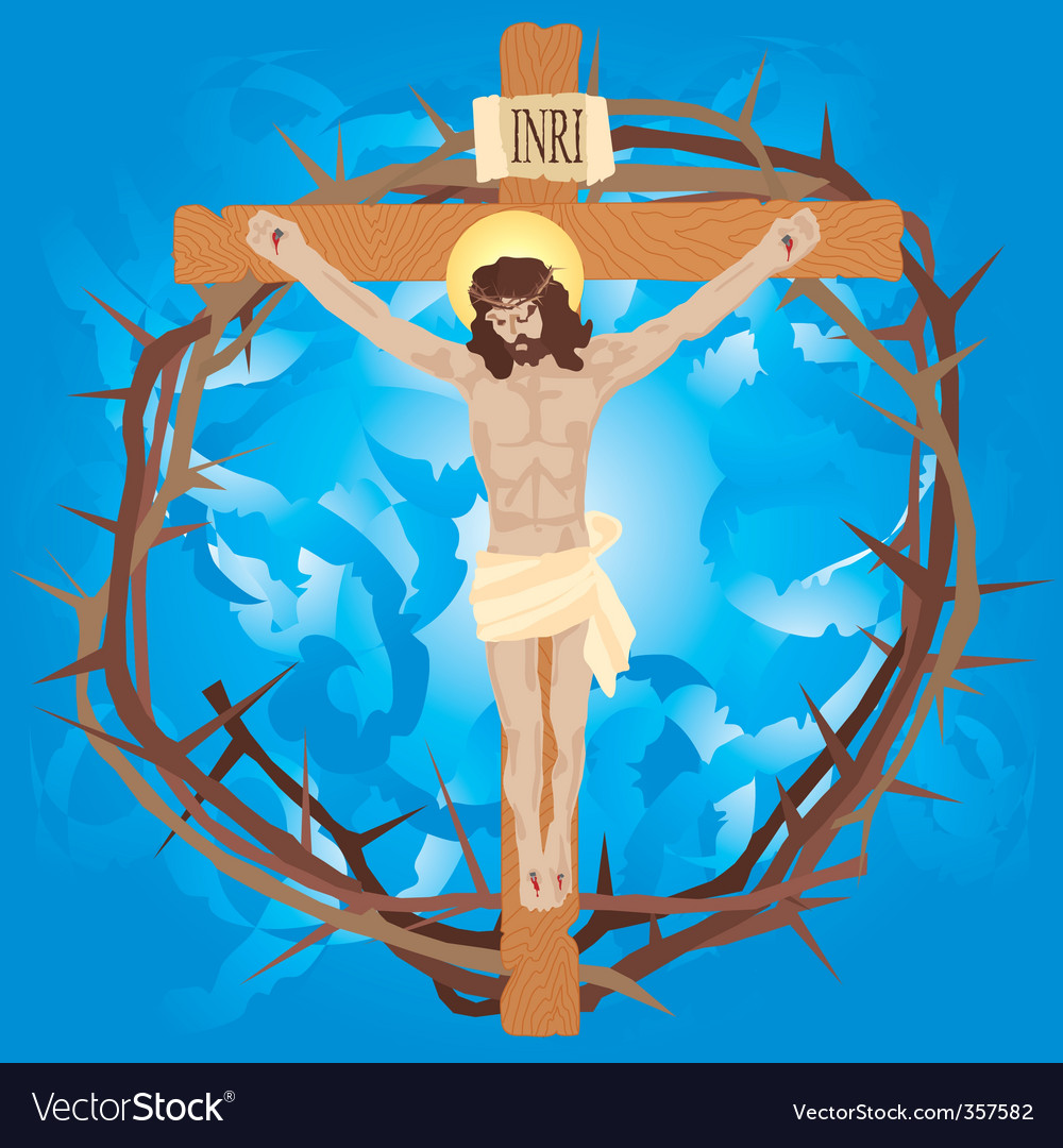 Jesus nailed to the cross vector image
