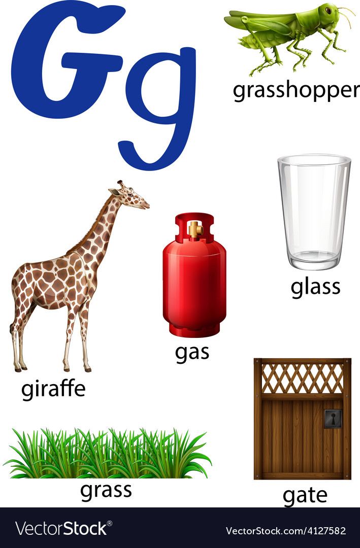 Things that start with the letter G vector image