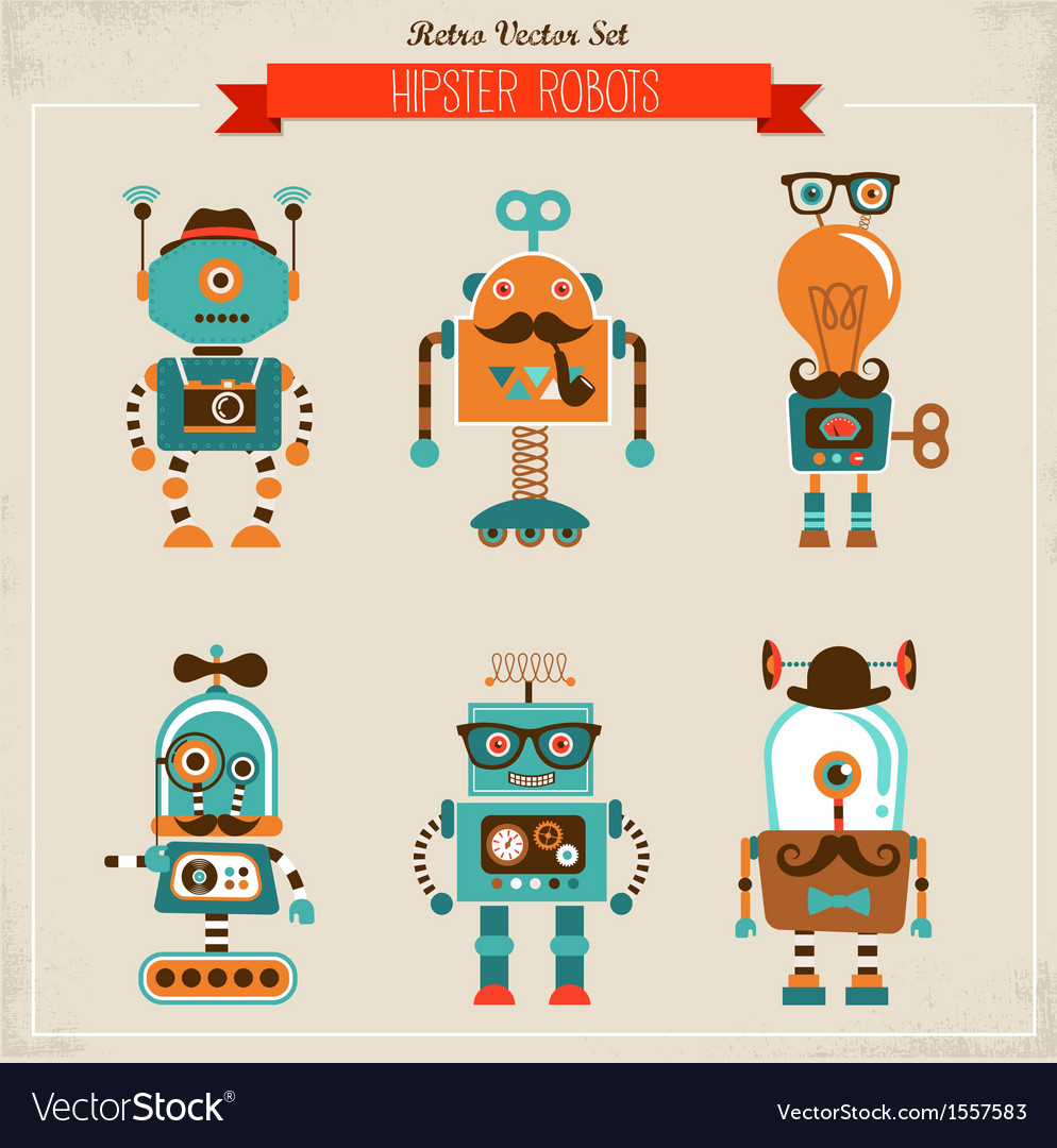Set of vintage hipster robot icons vector image