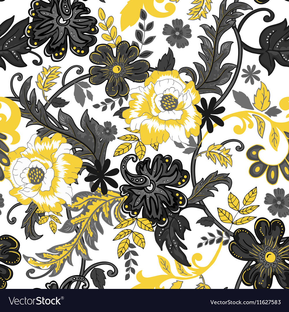 Abstract seamless pattern with isolated flowers on vector image
