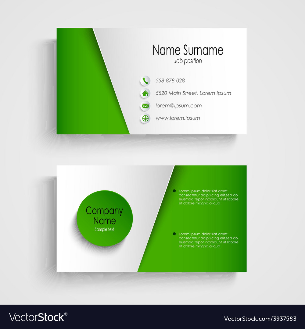 Modern light green business card template vector image fbccfo Image collections