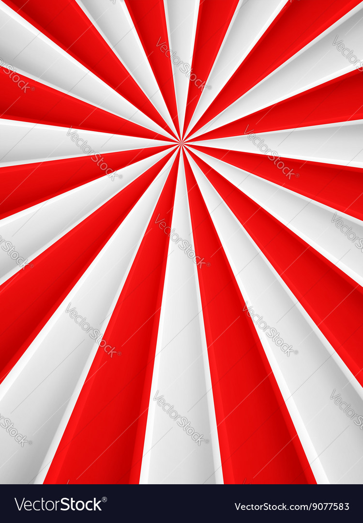 Red and white abstract rays circle poster vector image