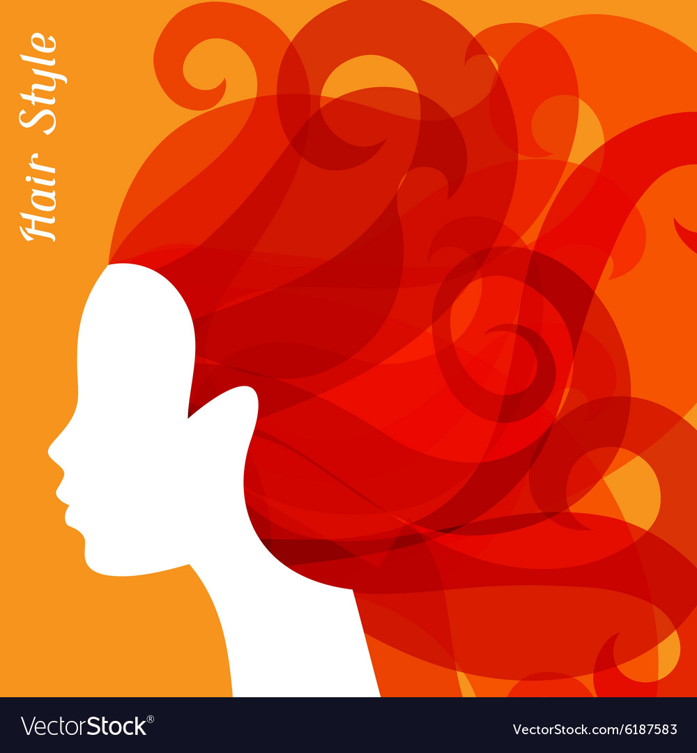 Woman silhouette with curly hair on bacground for vector image