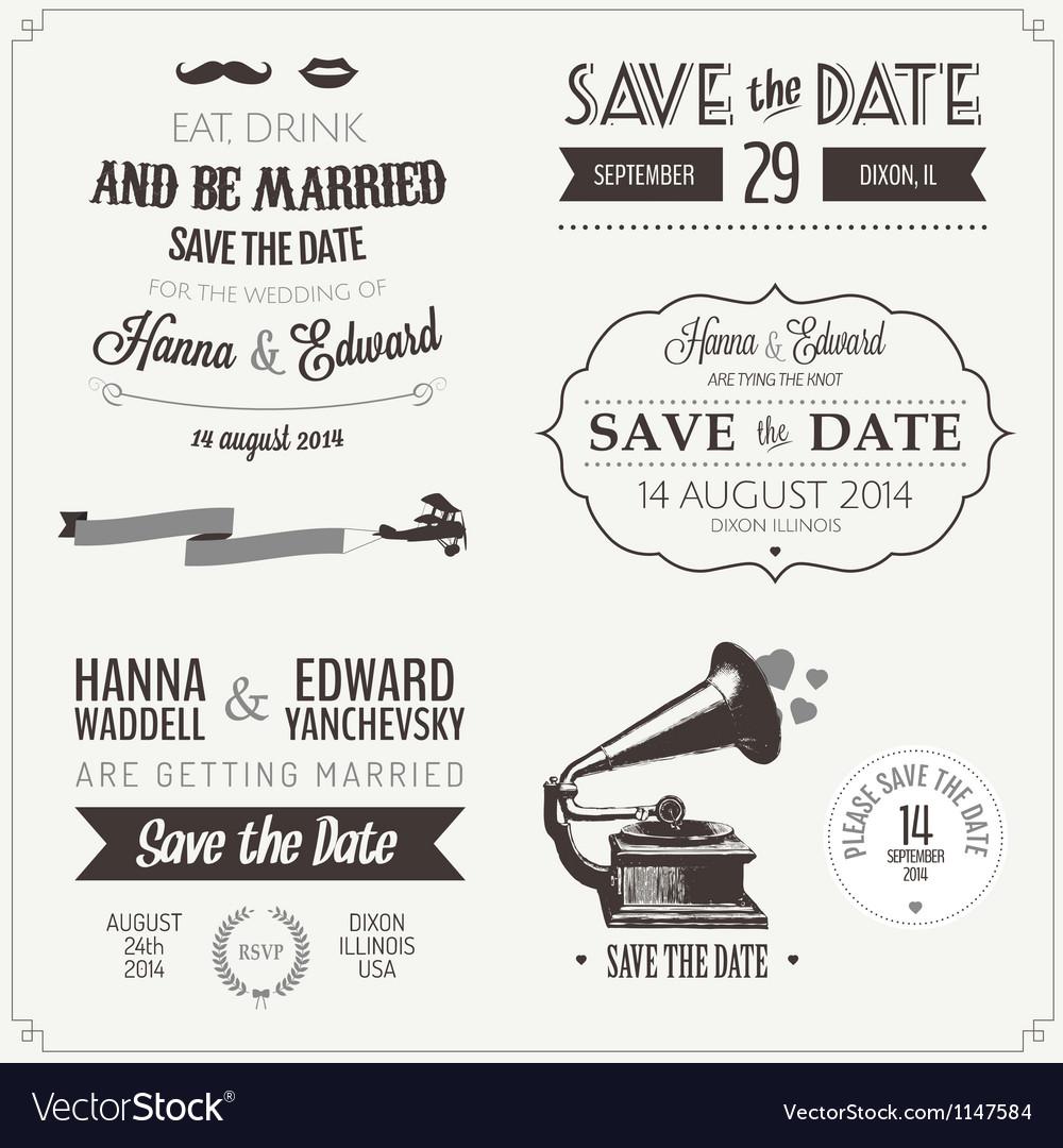 Set of wedding invitation vintage design elements vector image