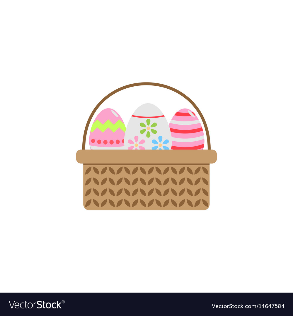 Easter eggs in basket flat icon religion holiday vector image