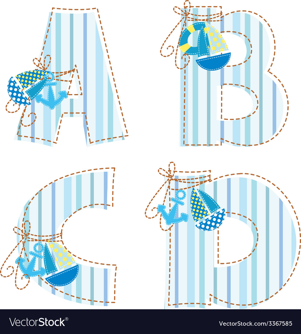 Fabric patchwork alhabetLetters ABCD vector image