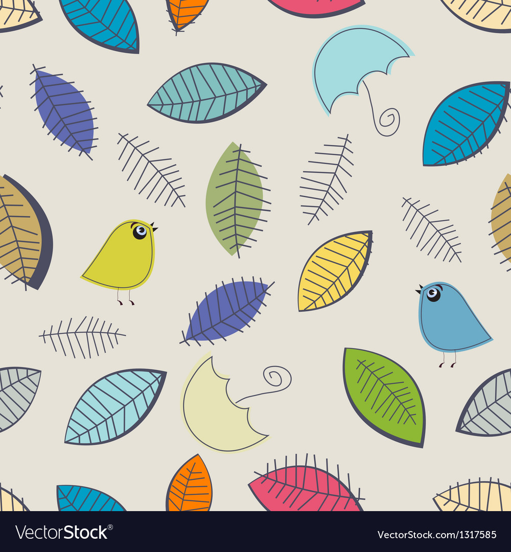 Vintage seamless background with birds vector image