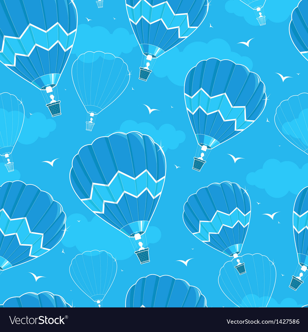 Hot air balloons seamless pattern background vector image