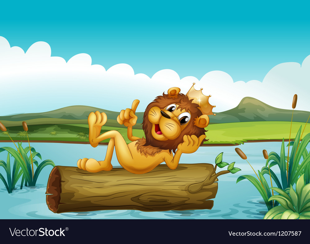 A trunk with a king lion Vector Image
