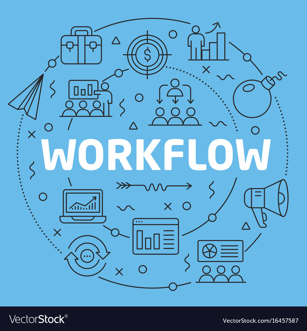 Blue line flat circle workflow vector image