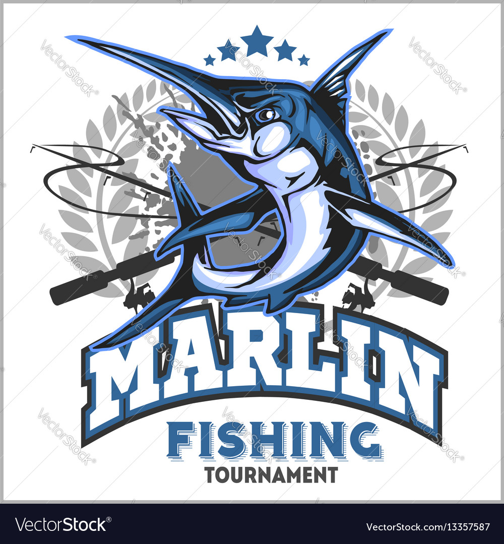 blue marlin fishing logo royalty free vector image